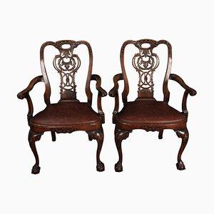 Armlehnstühle aus Nussholz & Leder im Chippendale-Stil, 1920er, 2er Set