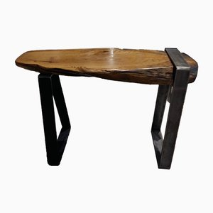 Antique Italian Oak and Steel Bench