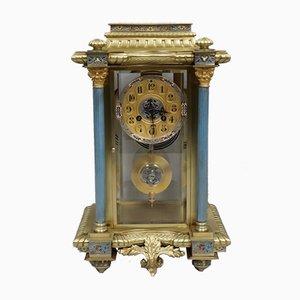 Antike emaillierte französische Uhr aus Messing von Vincenti