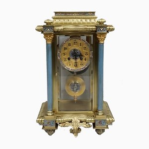 Antique French Brass and Enamel Clock from Vincenti