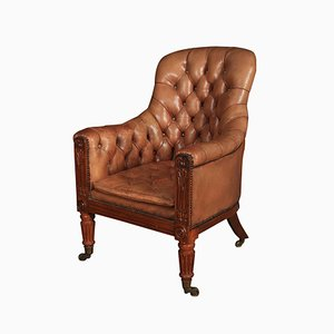 Antique William IV Rosewood & Leather Library Chair