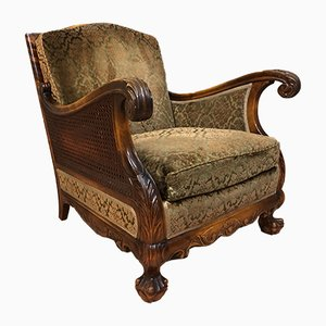 Vintage Velvet Lounge Chair, 1920s