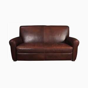Vintage French Leather Club Sofa, 1930s