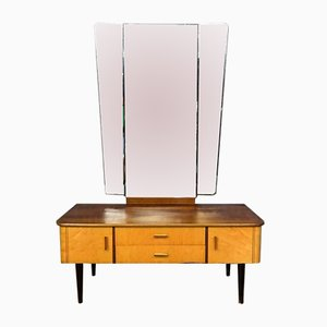 Mid-Century Wooden Dressing Table with Mirror, 1960s