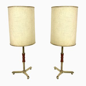 Mid-Century Brass Table Lamps, 1950s, Set of 2