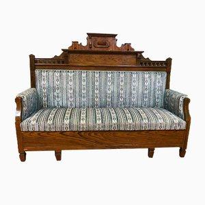 Antique Wilhelminian Wood & Velvet 2-Seater Sofa