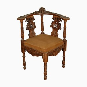 Antique Renaissance Style Italian Walnut Armchair, 1900s
