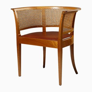 Leather & Mahogany Faaborg Armchair by Kaare Klint for Rud. Rasmussen, 1950s