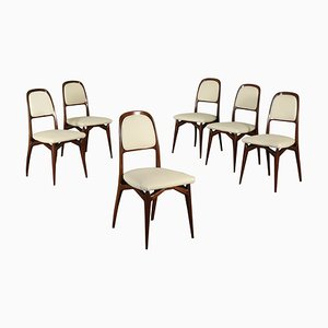 Italienische Mid-Century Esszimmerstühle aus Kunstleder & Mahagoni, 6er Set