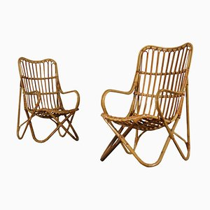 Mid-Century Italian Wicker Armchairs, Set of 2