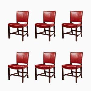 Dänische Red Chair Stühle aus Leder & Mahagoni von Kaare Klint, 1933, 6er Set
