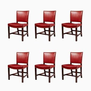 Danish Leather & Mahogany The Red Chairs by Kaare Klint, 1933, Set of 6