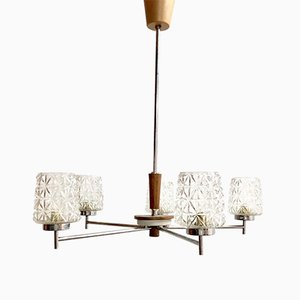 Mid-Century Glass and Steel Ceiling Lamp, 1950s