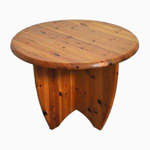 Round Danish Pine Side Table, 1970s