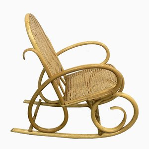 Mid-Century Wood and Wicker Childrens Chair, 1960s
