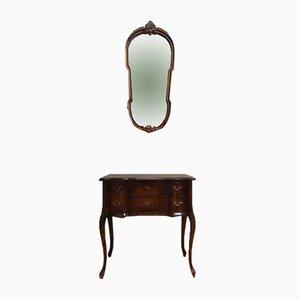 Antike Kommode mit Spiegel im Chippendale-Stil