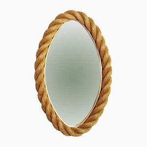 Oval Rope & Brass Mirror, 1960s