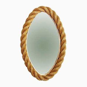 Specchio ovale in ottone e corda, anni '60