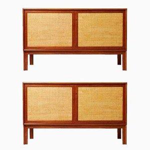 Moderne Sideboards aus Teak & Schilfrohr von Alf Svensson, 1950er, 2er Set