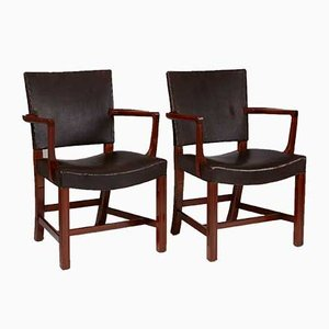 Leather & Mahogany Model 3758 Armchairs by Kaare Klint for Rud. Rasmussen, 1927, Set of 2