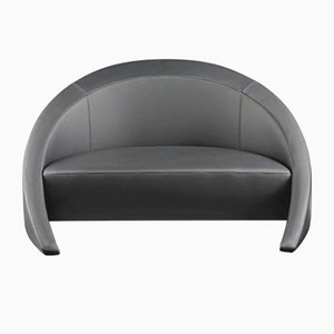 Small Black Nuvola Leather Rusty Sofa from VGnewtrend