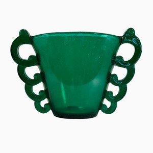 Grüne Art Deco Vase von Davesn für Daum, 1930er