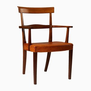 Danish Mahogany and Pig Skin Ravenna Armchair by Kaare Klint, 1948
