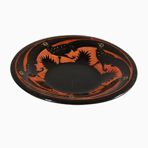 Red & Brown Pheasant Dish by Roger Mequinion, 1940s