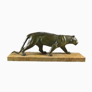 Art Deco Panther auf Marmorfuß von Leducq, 1930er