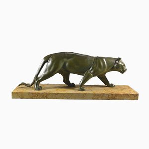 Art Deco Panther Sculpture on Marble Base by Leducq, 1930s