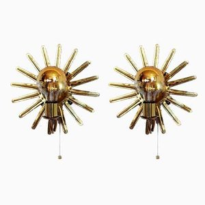 Vintage Sunburst Sconces, 1960s, Set of 2