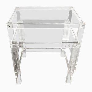 Tavolini a incastro in vetro e metacrilato, anni '60