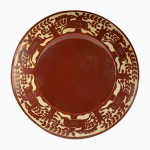 Large Vintage Brown Dish with Deers Pattern by Roger Mequinion, 1940s