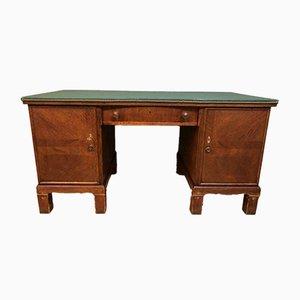 Antiker Schreibtisch aus Holz mit Lederauflage
