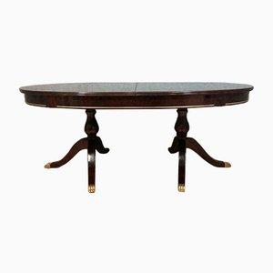 Antiker Esstisch aus Messing & Holz