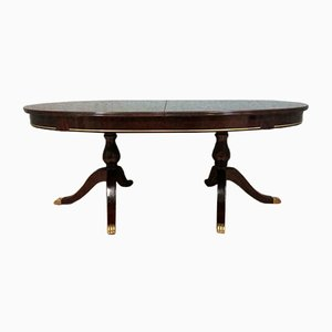 Antique Brass and Wood Dining Table