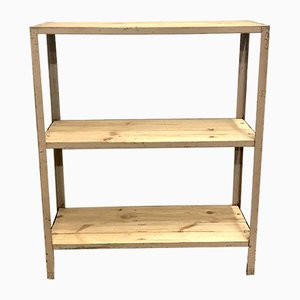 Mid-Century Industrial Iron and Pine Shelf, 1960s