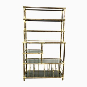 Mid-Century Brass and Smoked Glass Shelf, 1960s