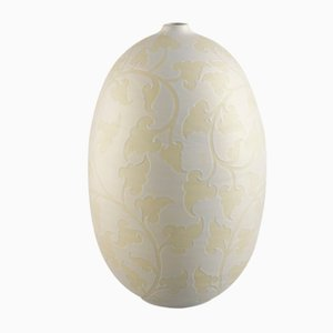 Light Yellow Metallic Stoneware Oliva Damasco Vase from VGnewtrend