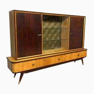 Vitrina de salón Mid-Century de vidrio, madera y laca, años 50