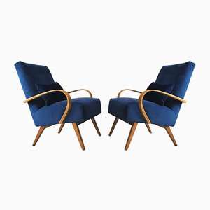 Mid-Century Art Deco Velvet Armchairs from TON, 1960s, Set of 2