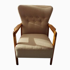 Dänischer Sessel mit Gestell aus Buche von Soren Hansen für Fritz Hansen, 1940er