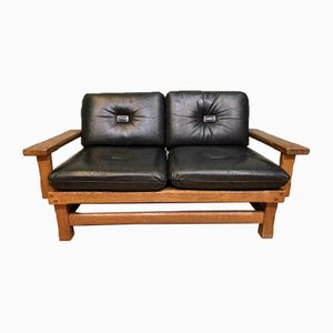 Mid-Century Leather and Wood Sofa, 1960s