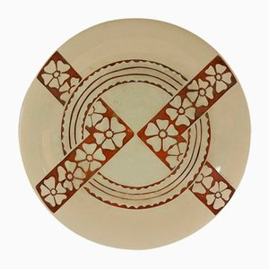 Geometric Floral Patterned Dish by Roger Mequinion, 1940s