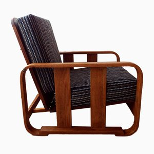 Oak Reclining Cube Easy Chair from Heals, 1930s