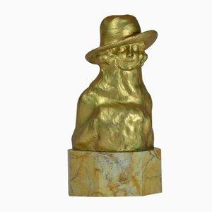 Frauenskulptur aus vergoldeter Bronze von Octave Lelievre, 1920er