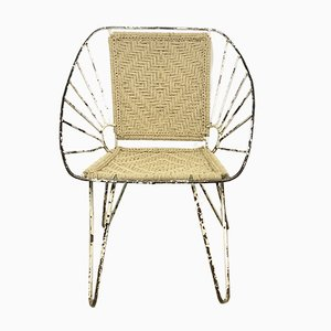Small Mid-Century Iron and Rope Armchair, 1950s
