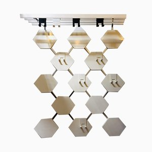 Mid-Century White Metal & Wood Honeycomb Coat Rack, 1960s