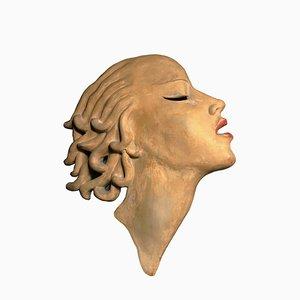 Masque Mural Art Déco en Céramique par Dr Rank Rezso, Hongrie, 1930s