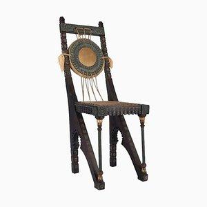Sedia da scrivania antica fatta a mano in rame e tessuto di Carlo Bugatti, Italia